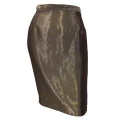 1990s Gianfranco Ferre Size 44 / 8 Metallic Bronze Gold High Waist Pencil Skirt