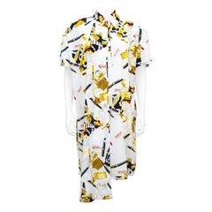 1990s Gianfranco Ferre White, Black and Gold Asymmetric Silk Printed Dress