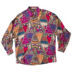 1990s Gianni Versace Abstract Triangle Print Silk Shirt