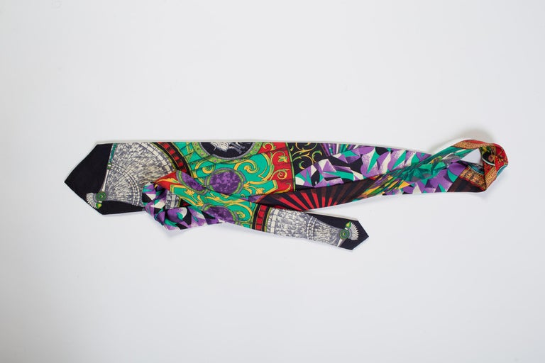 Men's 1990s Gianni Versace Art Deco Fan Print Tie For Sale