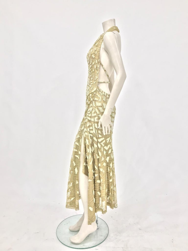 1990'S GIANNI VERSACE ATELIÉR Metallic Gold Lamé Lace Gown Covered In Crystals  In Excellent Condition For Sale In New York, NY