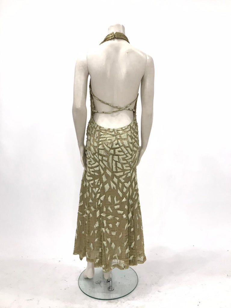 Women's 1990'S GIANNI VERSACE ATELIÉR Metallic Gold Lamé Lace Gown Covered In Crystals  For Sale