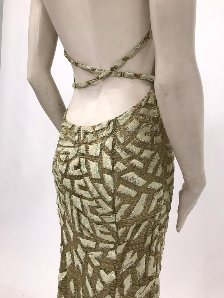 1990'S GIANNI VERSACE ATELIÉR Metallic Gold Lamé Lace Gown Covered In Crystals  For Sale 1