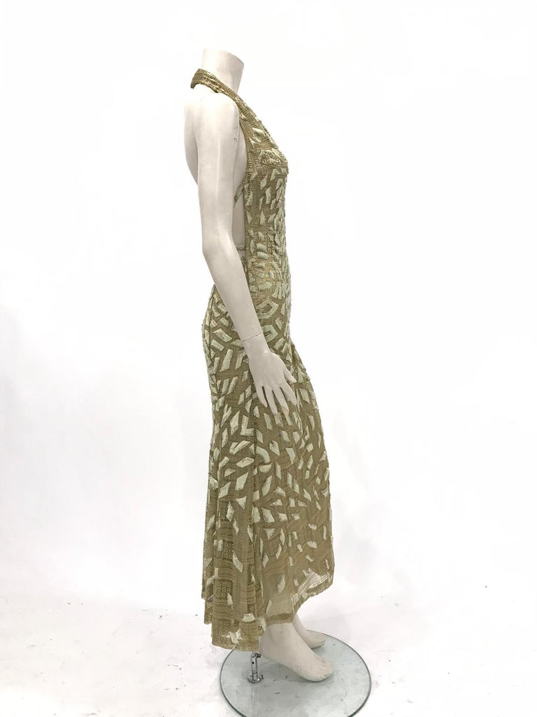 1990'S GIANNI VERSACE ATELIÉR Metallic Gold Lamé Lace Gown Covered In Crystals  For Sale 2