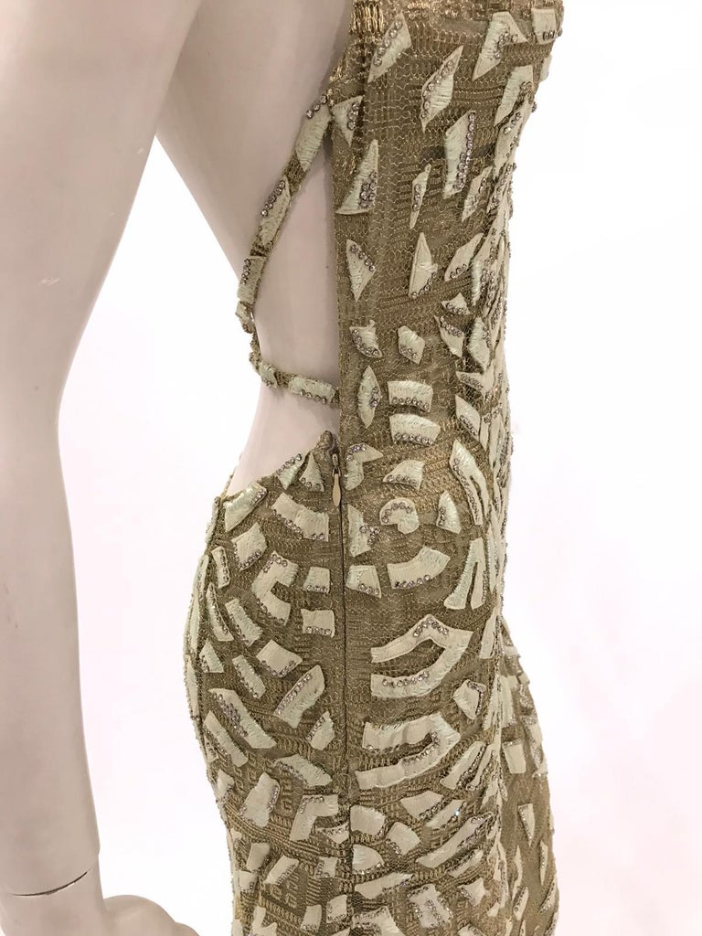 1990'S GIANNI VERSACE ATELIÉR Metallic Gold Lamé Lace Gown Covered In Crystals  For Sale 3