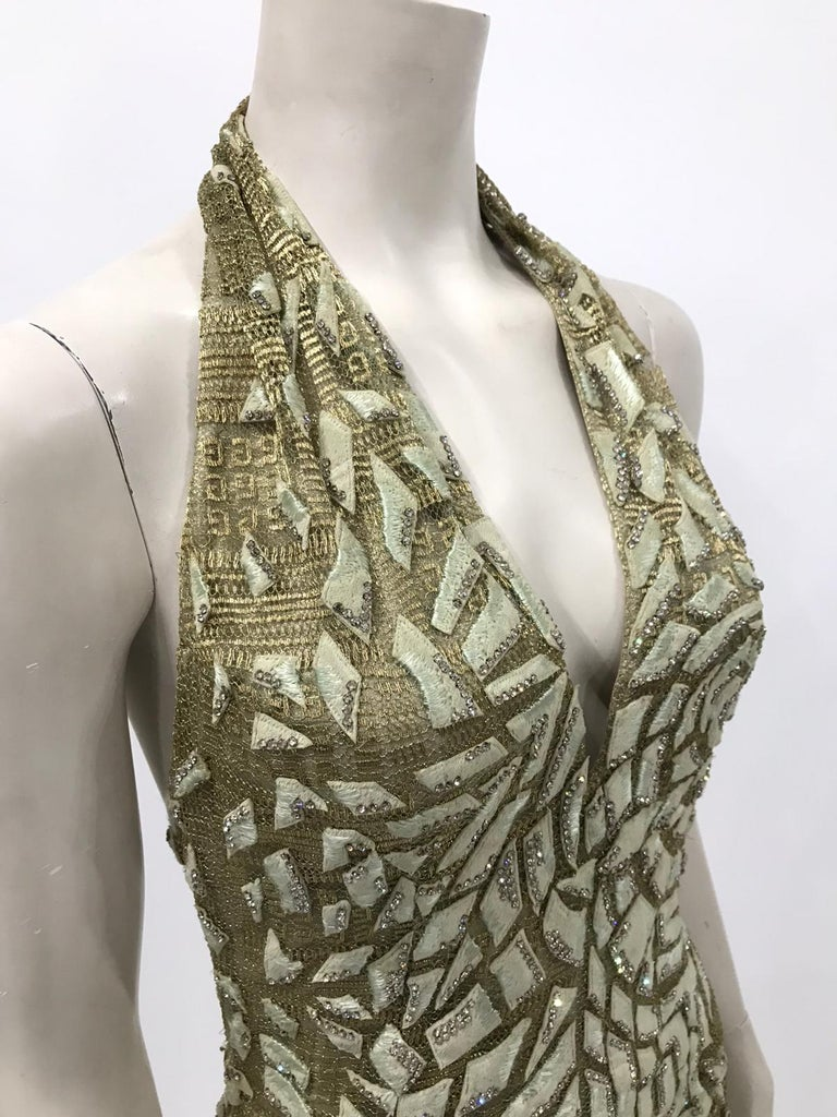 1990'S GIANNI VERSACE ATELIÉR Metallic Gold Lamé Lace Gown Covered In Crystals  For Sale 4