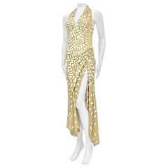 1990's GIANNI VERSACE Ateliér Metallic Gold Lamé Lace Gown Covered In Crystals