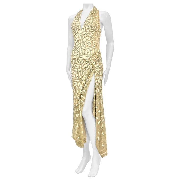 1990'S GIANNI VERSACE ATELIÉR Metallic Gold Lamé Lace Gown Covered In Crystals  For Sale