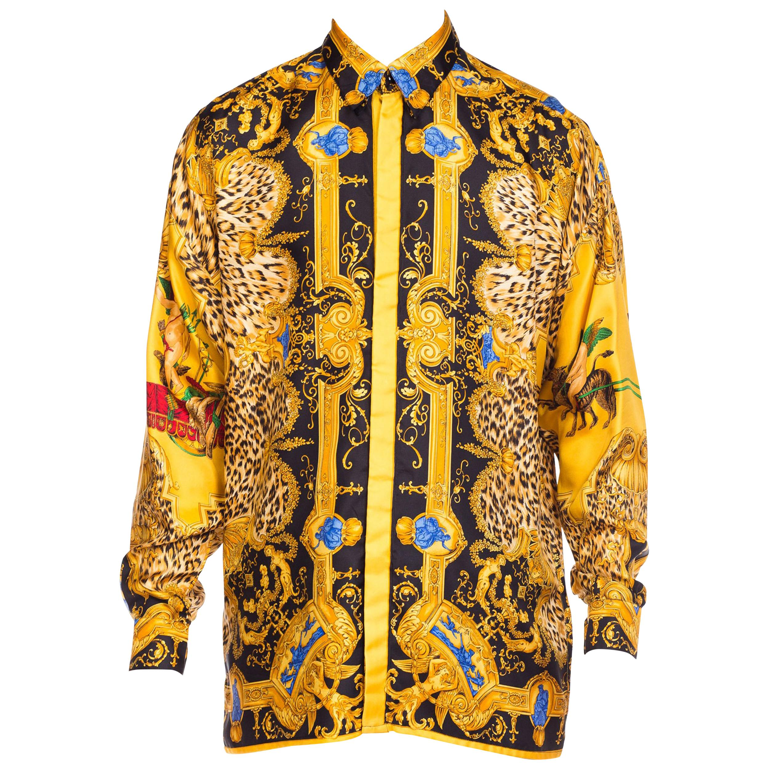 1990S GIANNI VERSACE Baroque And Leopard Printed Silk Shirt Top
