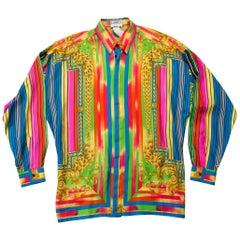 1990S  GIANNI VERSACE Rainbow Silk Men's Baroque Print Shirt