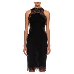 1990S GIANNI VERSACE Black & Beige Sheer Rayon Blend Lace Net Cocktail Dress