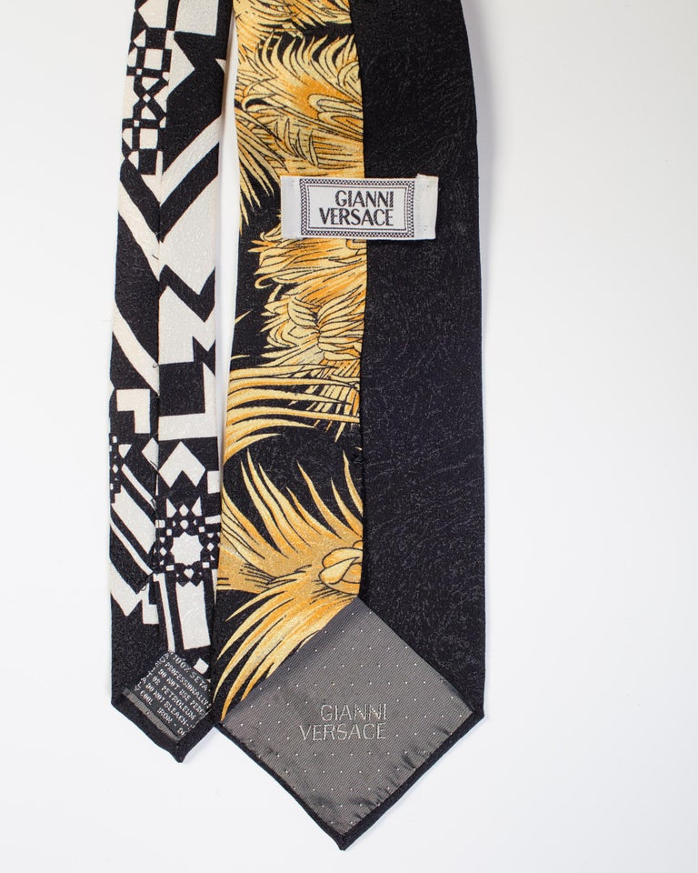 Men's 1990s Gianni Versace Black Miami Tie With Gold Palm Trees For Sale