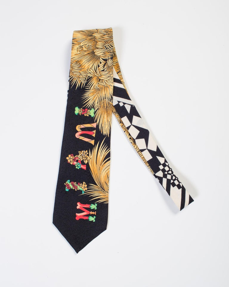 1990s Gianni Versace Black Miami Tie With Gold Palm Trees For Sale 1