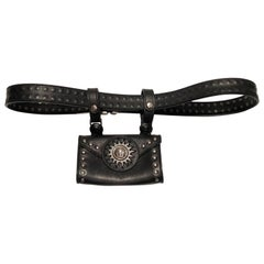 1990s Gianni Versace black studded Medusa leather mini bag and belt