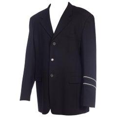 1990S GIANNI VERSACE Black Wool Men's Zipper Detail Blazer