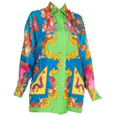 1990S GIANNI VERSACE Blue & Green Silk Twill Scottish Chinese Dragon Print Blou