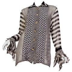 1990s Gianni Versace Boho Collection Ruffled Sheer Silk Chiffon Blouse