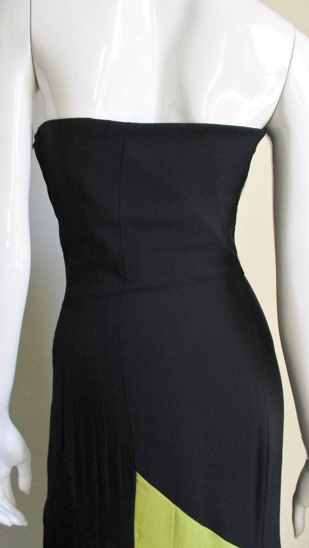 1990s Gianni Versace Color Block Bustier Dress For Sale 5