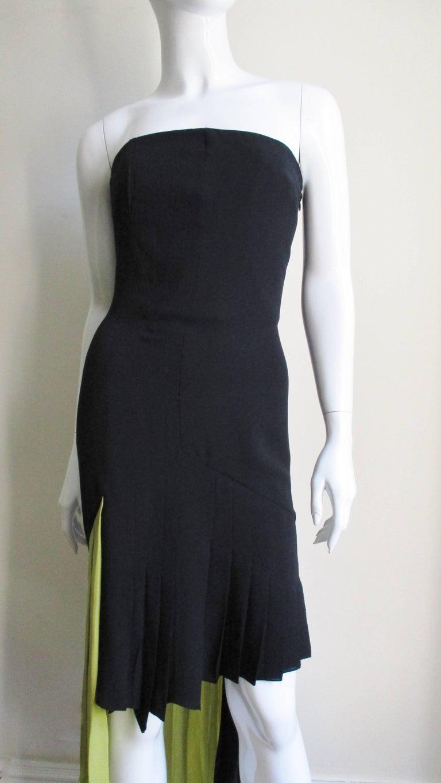 Black 1990s Gianni Versace Color Block Bustier Dress For Sale