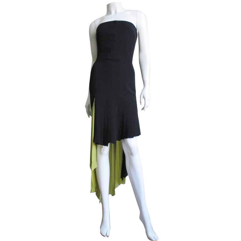 1990s Gianni Versace Color Block Bustier Dress With Lime Train