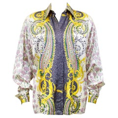 1990s Gianni Versace Couture Baroque and Carnation Print Silk Shirt