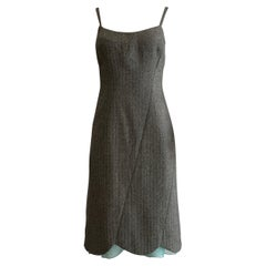 1990s Gianni Versace Couture Black and White Tweed Dress with Blue Lace Trim