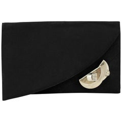 1990s Gianni Versace Couture Black Grosgrain Clutch with Silver Detail
