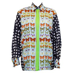 1990s Gianni Versace Couture Butterfly Silk Shirt
