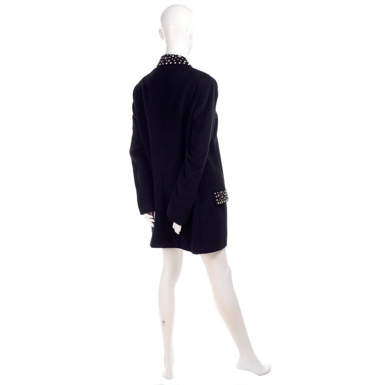 1990s Gianni Versace Couture Jacket in Wool Cashmere Blend w/ Medusa Head Studs For Sale 5