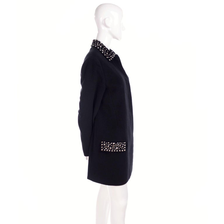 1990s Gianni Versace Couture Jacket in Wool Cashmere Blend w/ Medusa Head Studs For Sale 8