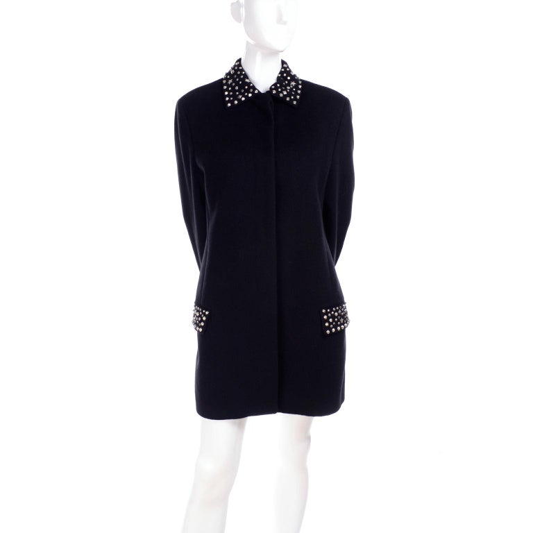 Black 1990s Gianni Versace Couture Jacket in Wool Cashmere Blend w/ Medusa Head Studs For Sale