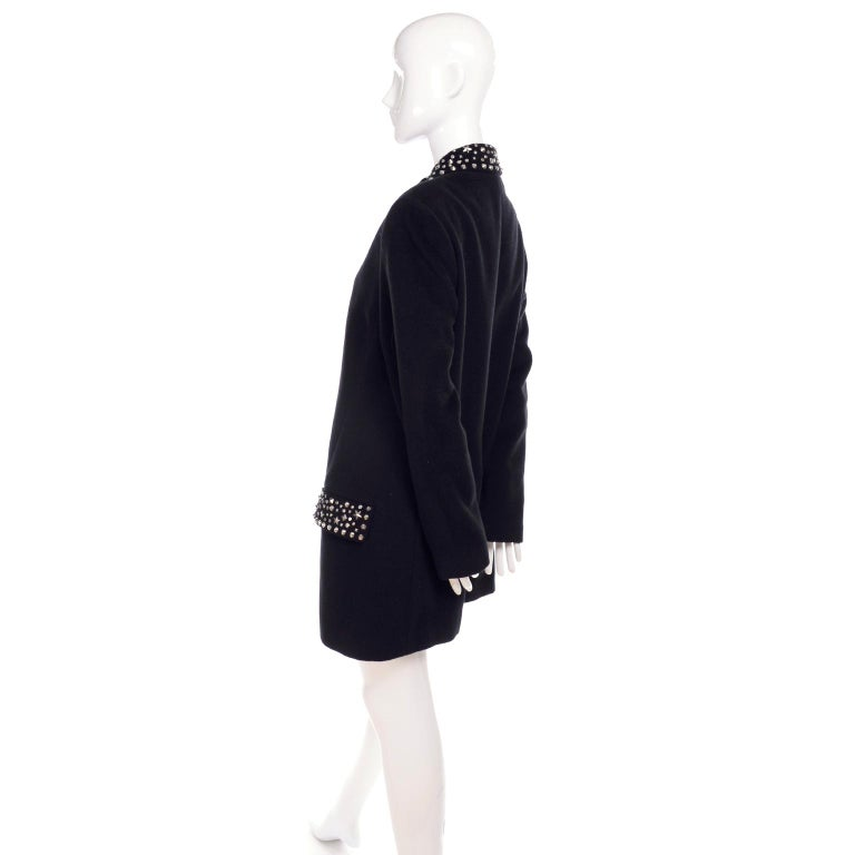 Women's 1990s Gianni Versace Couture Jacket in Wool Cashmere Blend w/ Medusa Head Studs For Sale