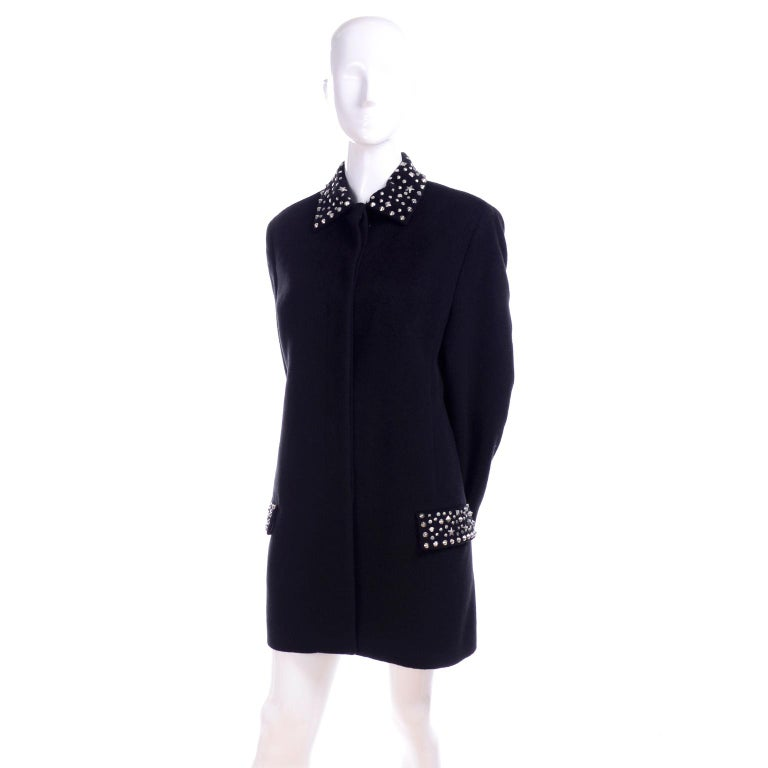 1990s Gianni Versace Couture Jacket in Wool Cashmere Blend w/ Medusa Head Studs For Sale 1