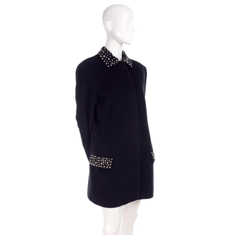 1990s Gianni Versace Couture Jacket in Wool Cashmere Blend w/ Medusa Head Studs For Sale 2