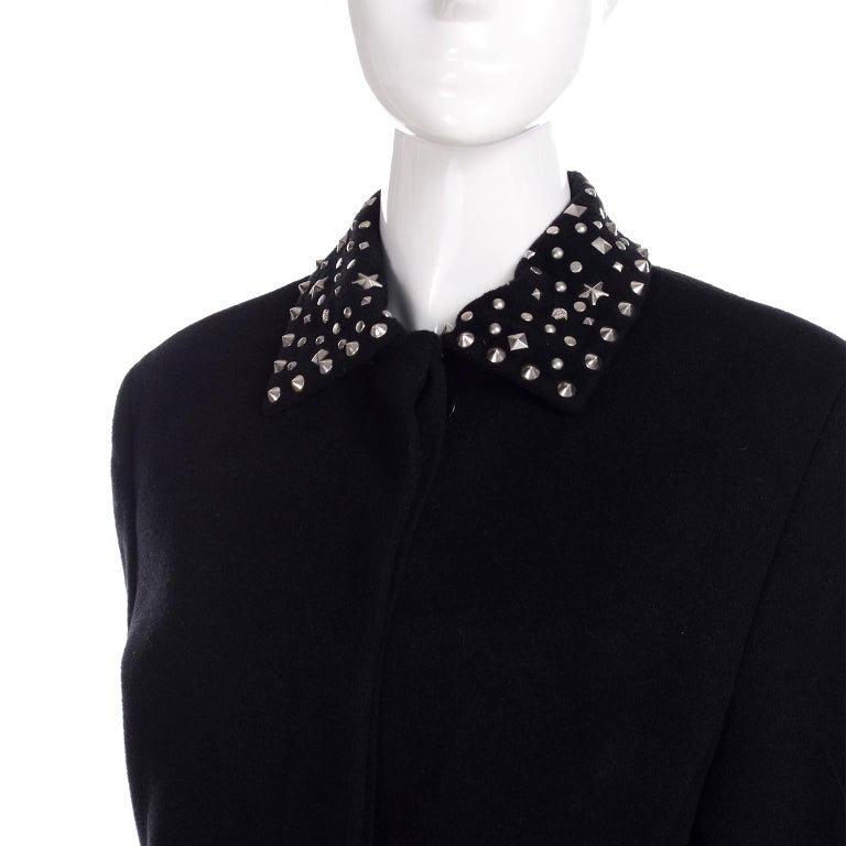 1990s Gianni Versace Couture Jacket in Wool Cashmere Blend w/ Medusa Head Studs For Sale 3