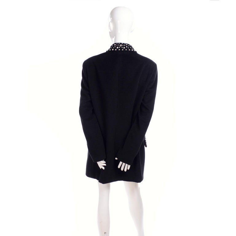 1990s Gianni Versace Couture Jacket in Wool Cashmere Blend w/ Medusa Head Studs For Sale 4