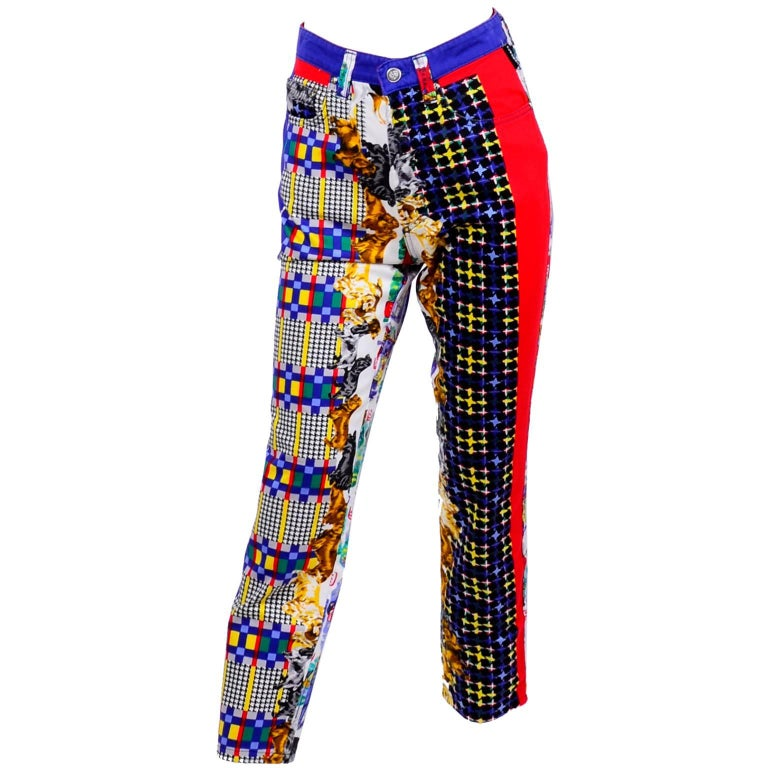 Gianni Versace Couture Houndstooth Plaid Dressed Dogs Novelty Print Jeans, 1990s