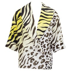 1990s Gianni Versace Couture Leopard and Tiger Print Short Sleeve Blouse