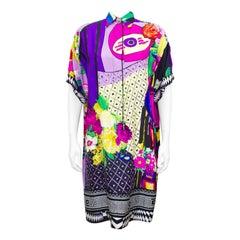 1990s Gianni Versace Couture Multi Colour Silk Shirt Dress