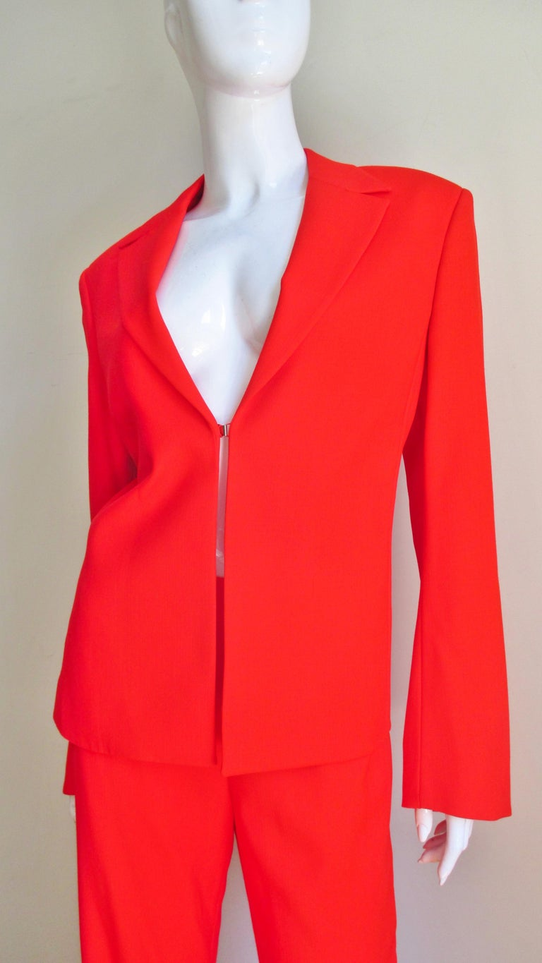 Red Gianni Versace Couture New Suit with Cut outs 1990s For Sale