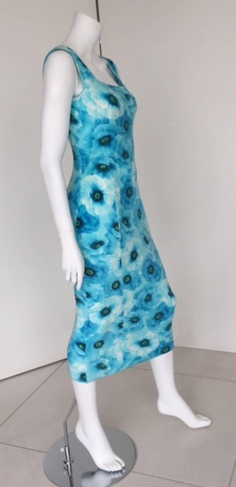 1990s Gianni Versace Couture Turquoise Summer Casual Dress  For Sale 3