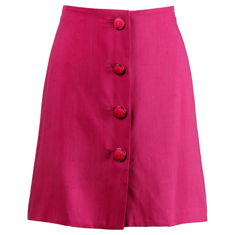 1990s Gianni Versace Couture Vintage Hot Pink Silk Mini Skirt / Medusa Buttons