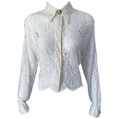 1990s Gianni Versace Couture White Lace Medusa Buttons Size 44 8 / 10 Blouse Top