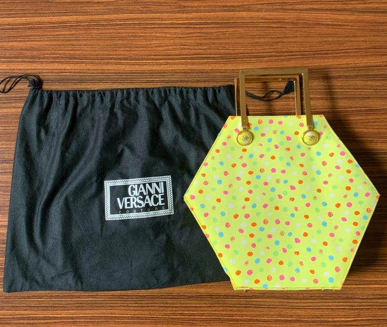 1990s Gianni Versace Couture Yellow Spray Paint Polka Dot Medusa Handbag Purse For Sale 6