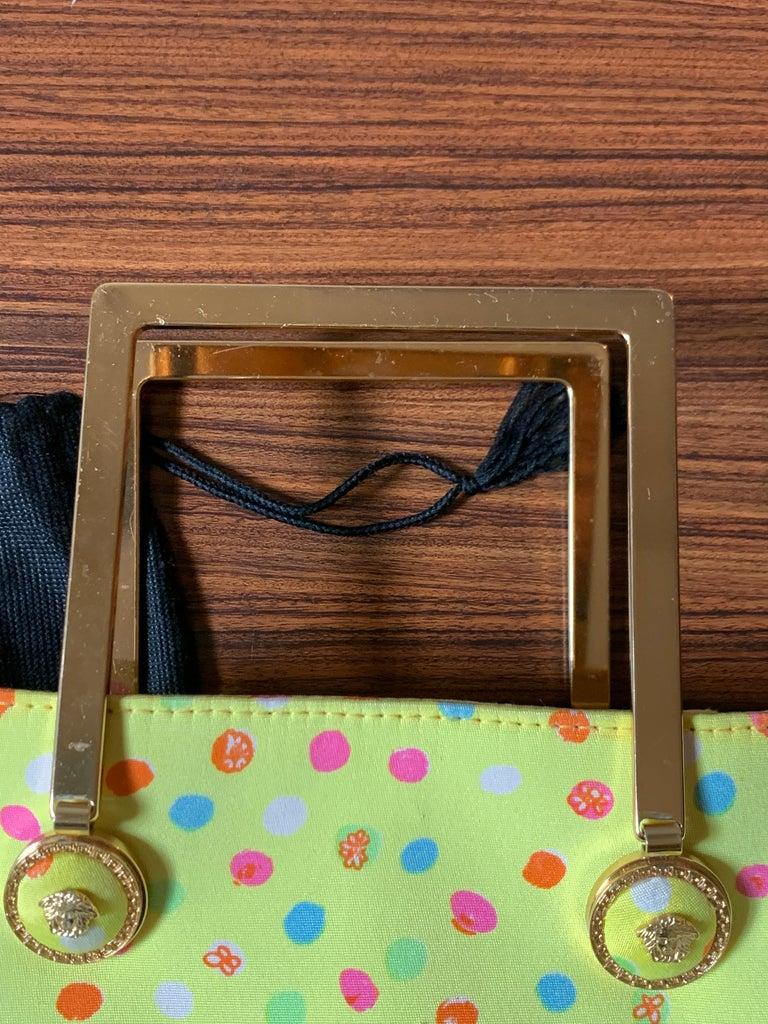 1990s Gianni Versace Couture Yellow Spray Paint Polka Dot Medusa Handbag Purse For Sale 7