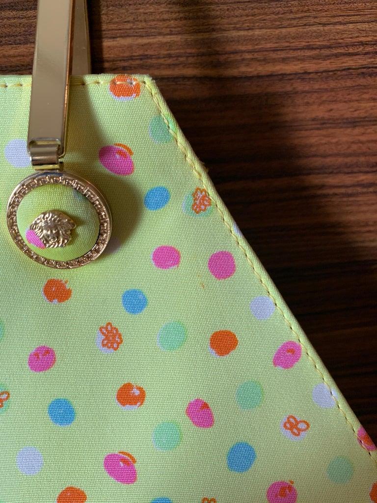 1990s Gianni Versace Couture Yellow Spray Paint Polka Dot Medusa Handbag Purse For Sale 8