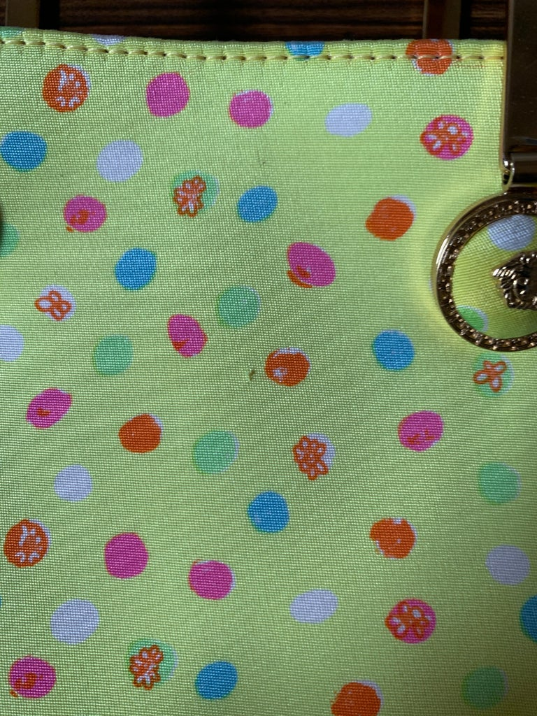 1990s Gianni Versace Couture Yellow Spray Paint Polka Dot Medusa Handbag Purse For Sale 9