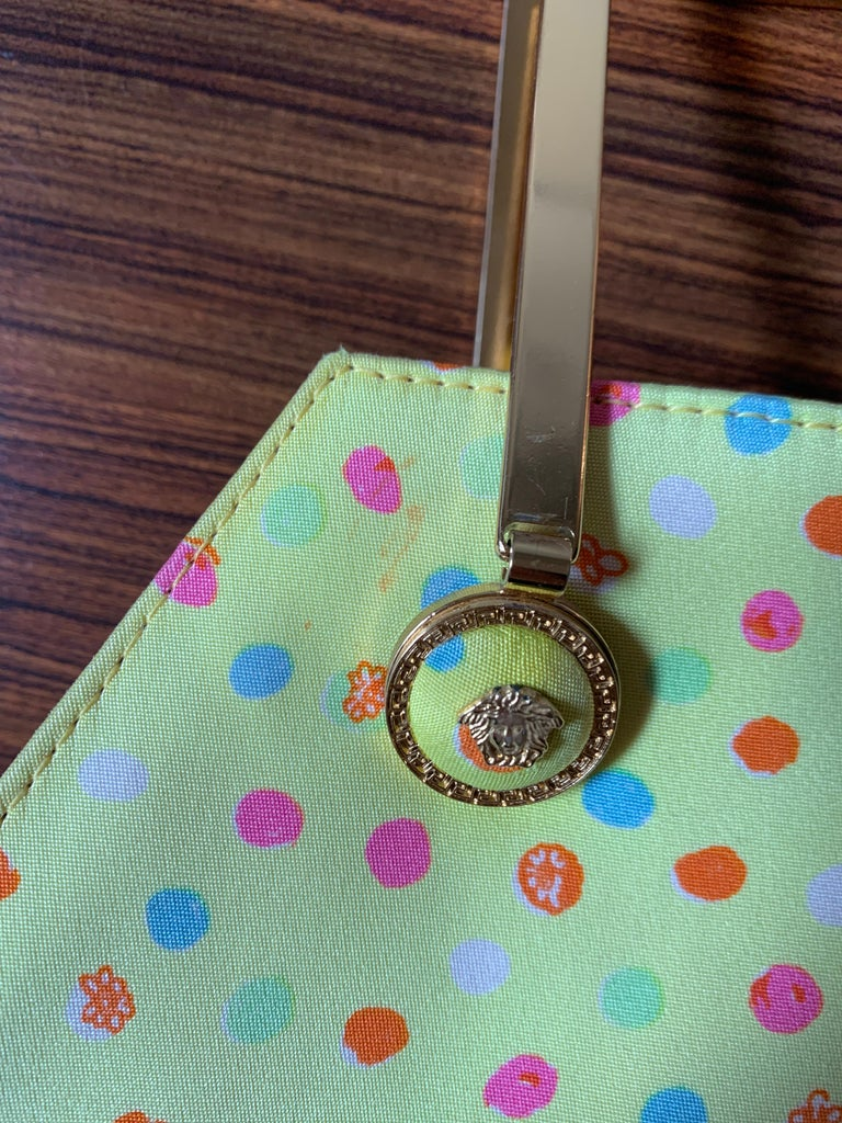 1990s Gianni Versace Couture Yellow Spray Paint Polka Dot Medusa Handbag Purse For Sale 10