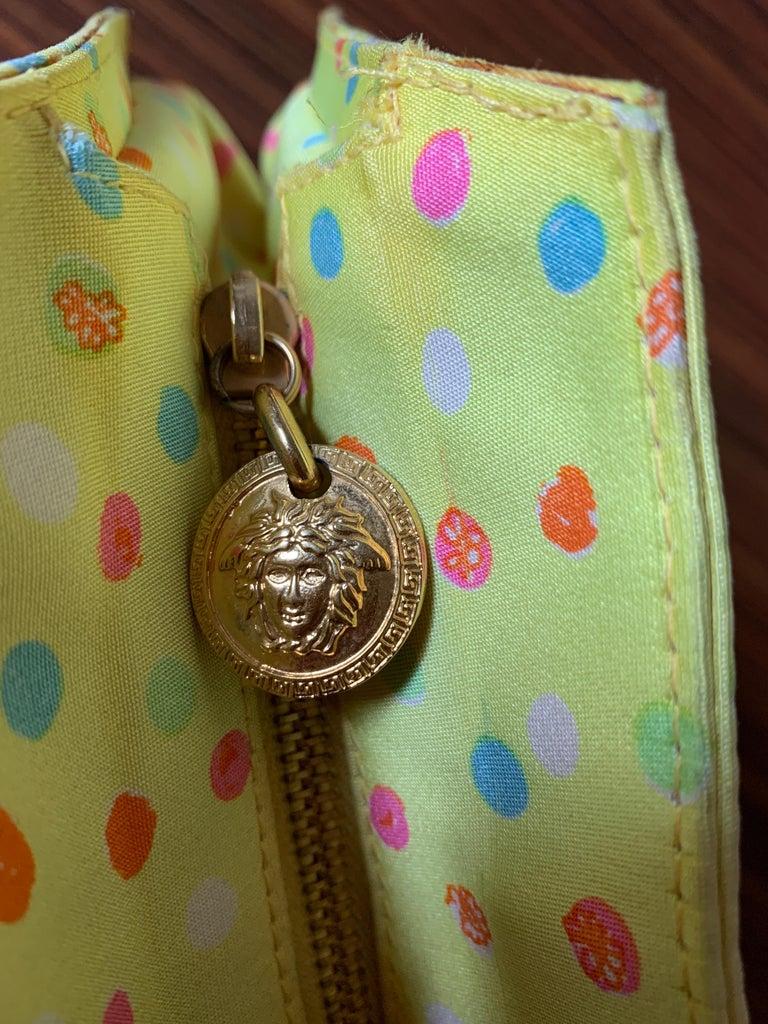 1990s Gianni Versace Couture Yellow Spray Paint Polka Dot Medusa Handbag Purse For Sale 1