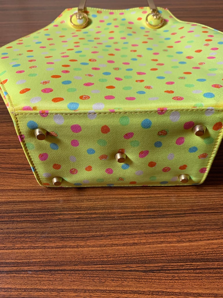 1990s Gianni Versace Couture Yellow Spray Paint Polka Dot Medusa Handbag Purse For Sale 2
